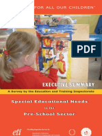 Special Education Needs in the Pre School Sector Executive Summary