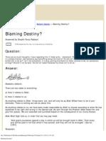 Blaming Destiny