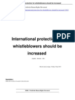 International Protection for Whistleblowers Should Be Increased a13624