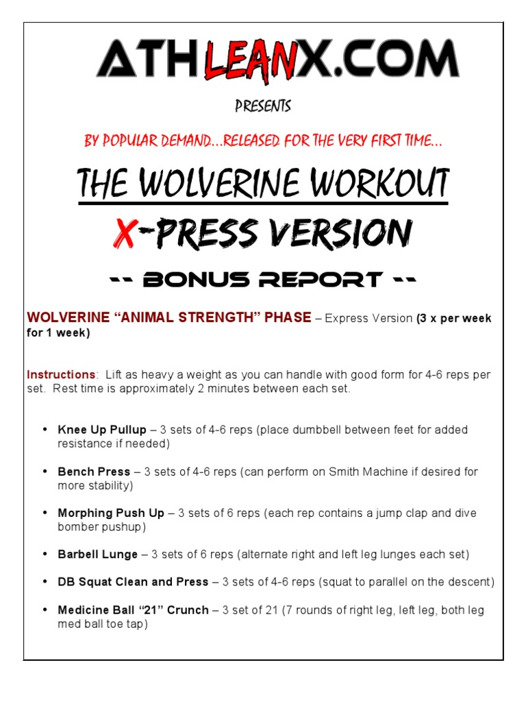 Athlean X Wolverine Workout Pdf – EOUA Blog