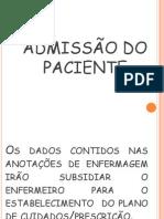 ADMISSÃO DO PACIENTE