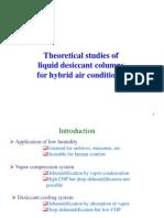 Theoretical studies of  liquid desiccant columns  for hybrid air conditioner