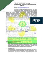 PP No. 50 Tahun 2012 Tentang Penerapan SMK3