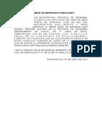 CONSTATACIÓN DE CERTIFICADO DOMICILIARIO