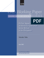 Welfare Impacts of Electricity Generation Sector Reform in the Philippines