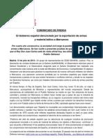Comunicado de Prensa Denuncia Venta Armas 2013 Ajasahara