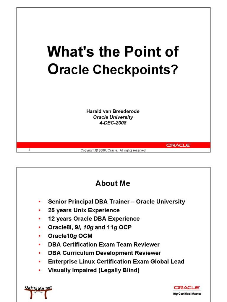 Checkpoint Suk Oug Oracle Database Data Buffer