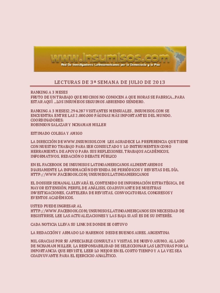 LECTURAS DE 3ª SEMANA DE JULIO DE 2013