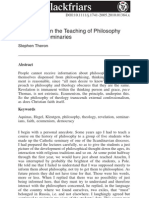 Reflections on Teaching Philosophy in Clerical Seminaries