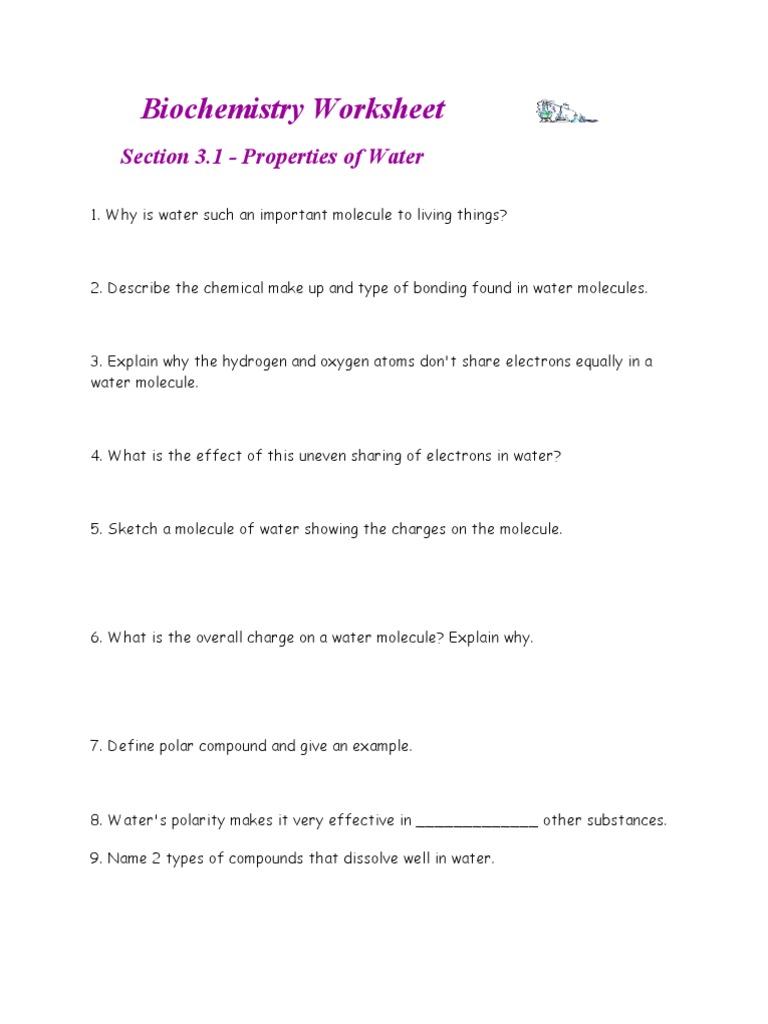 Worksheets Biochemistry Worksheet worksheets biochemistry worksheet tokyoobserver just another properties of water carbohydrates