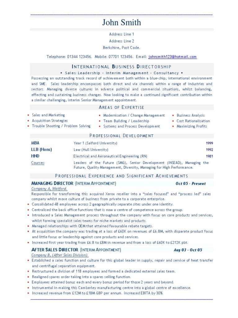 Business Director (Sales) CV resume sample | Sales | Leadership
