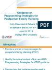 New WHO Guidance on Programming Strategies for Postpartum Family Planning