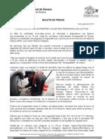 14/07/13 Germán Tenorio Vasconcelos aumentan en 20% Accidentes Viales Por Temporada de Lluvias