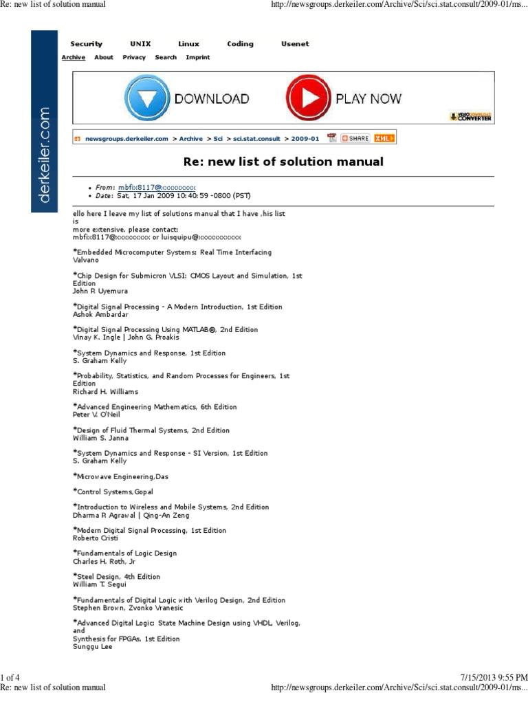 re new list of solution manual engineering embedded system rh es scribd com VLSI Process modern vlsi design ip-based design fourth edition solution manual