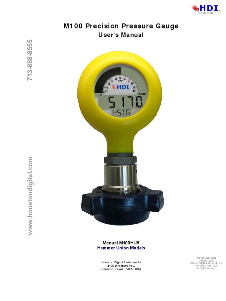 hdi 100 mud gauge manual1 calibration pressure measurement rh scribd com Precision Tire Pressure Gauge Precision Angle Measurement Tools