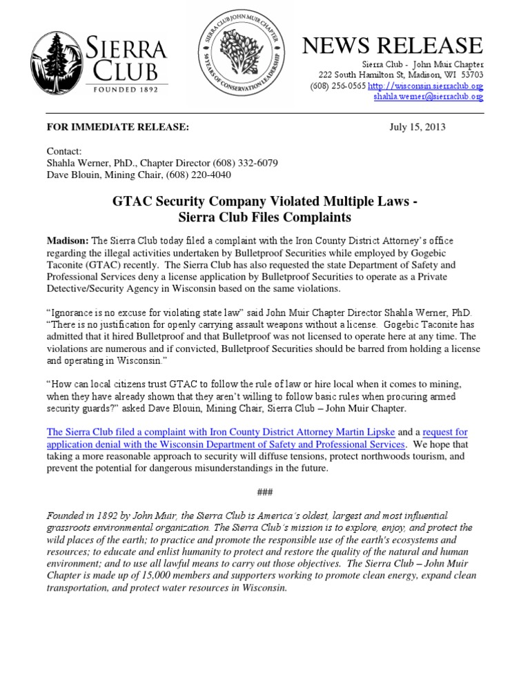 Gtac security company violated multiple laws sierra club files gtac security company violated multiple laws sierra club files complaints sierra club john muir altavistaventures Image collections