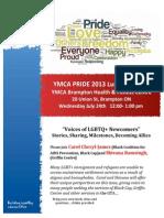 YMCA PRIDE Flyer July 24 2013 Brampton