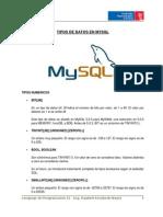 Tipos de Datos en MySql