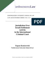 Jurisdiction Over Israeli Settlement Activity in the International Criminal Court