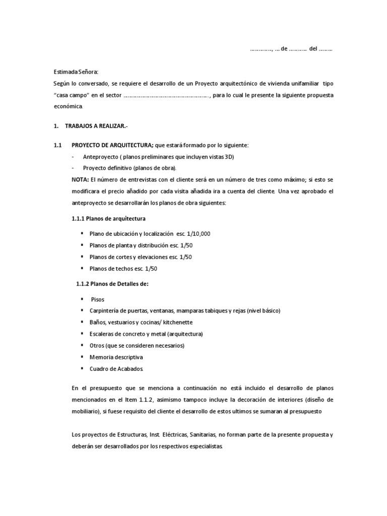 Propuesta economica arquitectura for Honorarios arquitecto