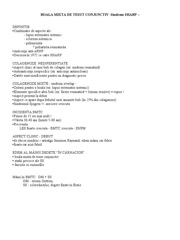 criterii mixte de boală a țesutului conjunctiv