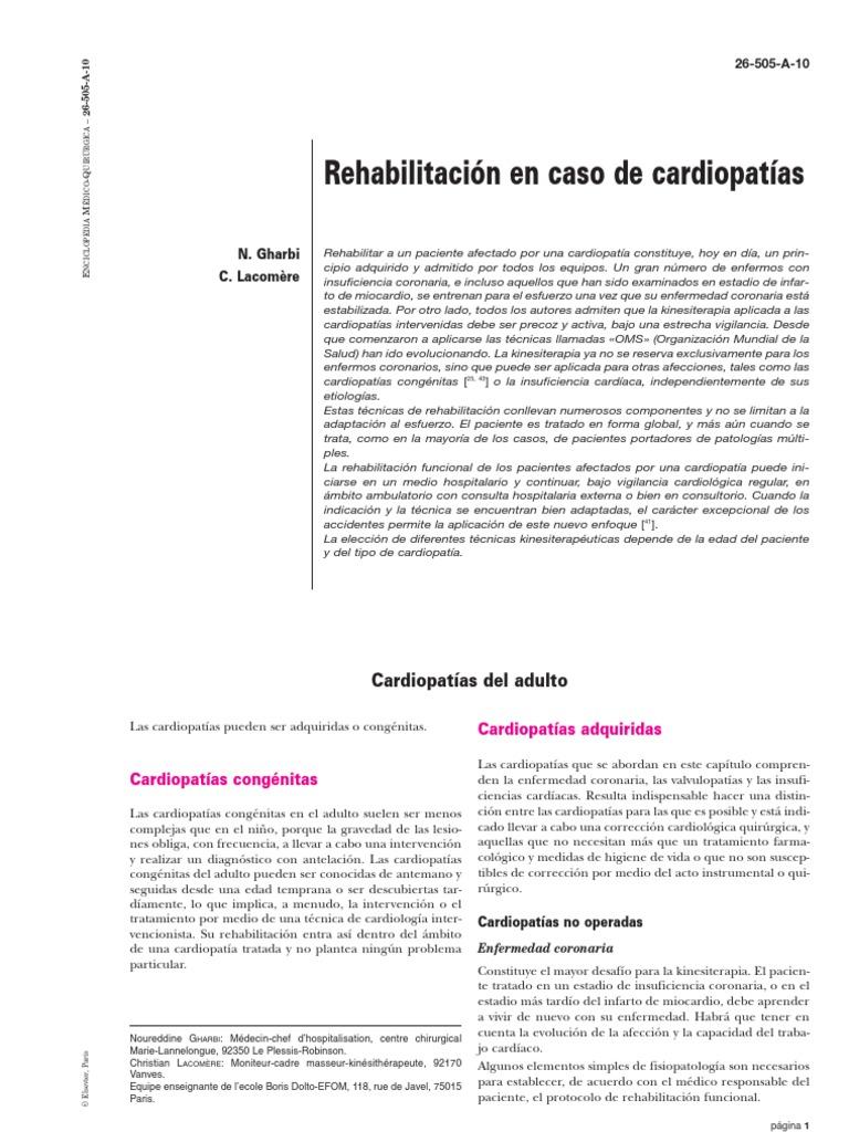Rehabilitacion en Caso de Cardiopatias