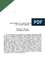 Wolfgang Mommsen Weber y La Crisis Del Sistema de Valores Liberal