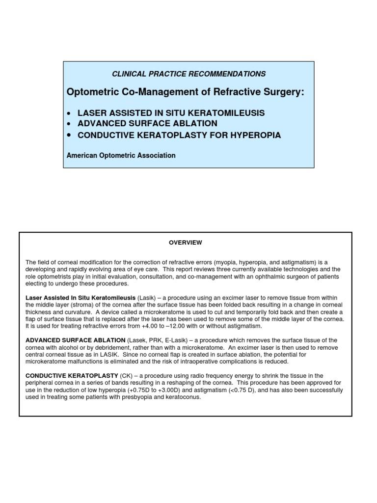 Aoa Lasik Co Management Guide Human Eye Cornea