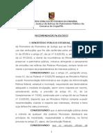 RECOMENDAÇÃO- CARROS OFICIAIS