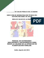 Estandares e Indicadores de Planificacion Familiar