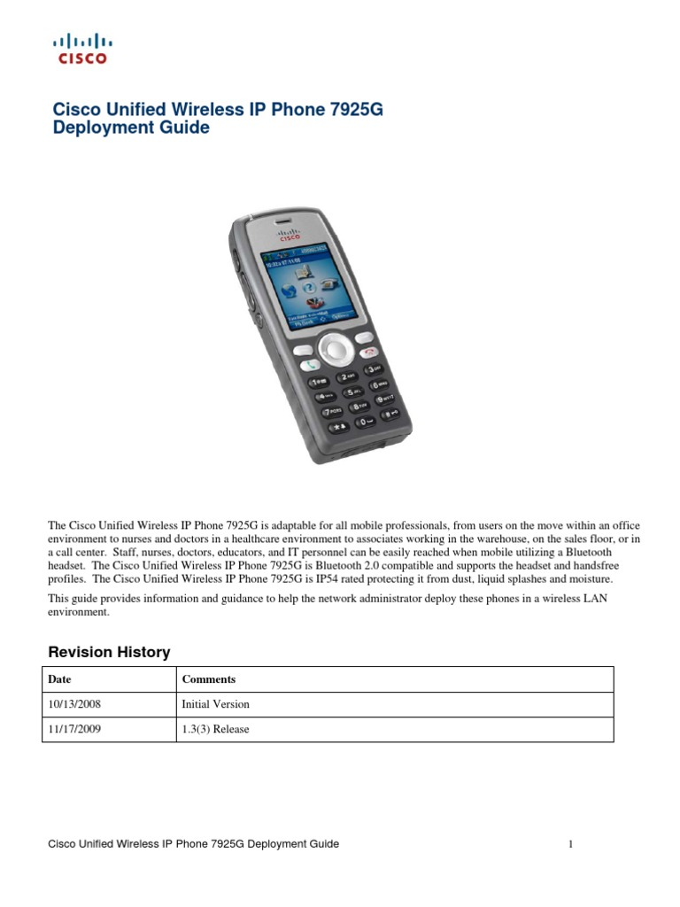 Cisco Unified Wireless IP Phone 7925G | Wireless Lan