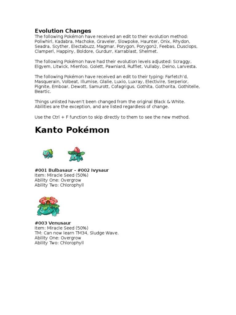 Pokemon Changes