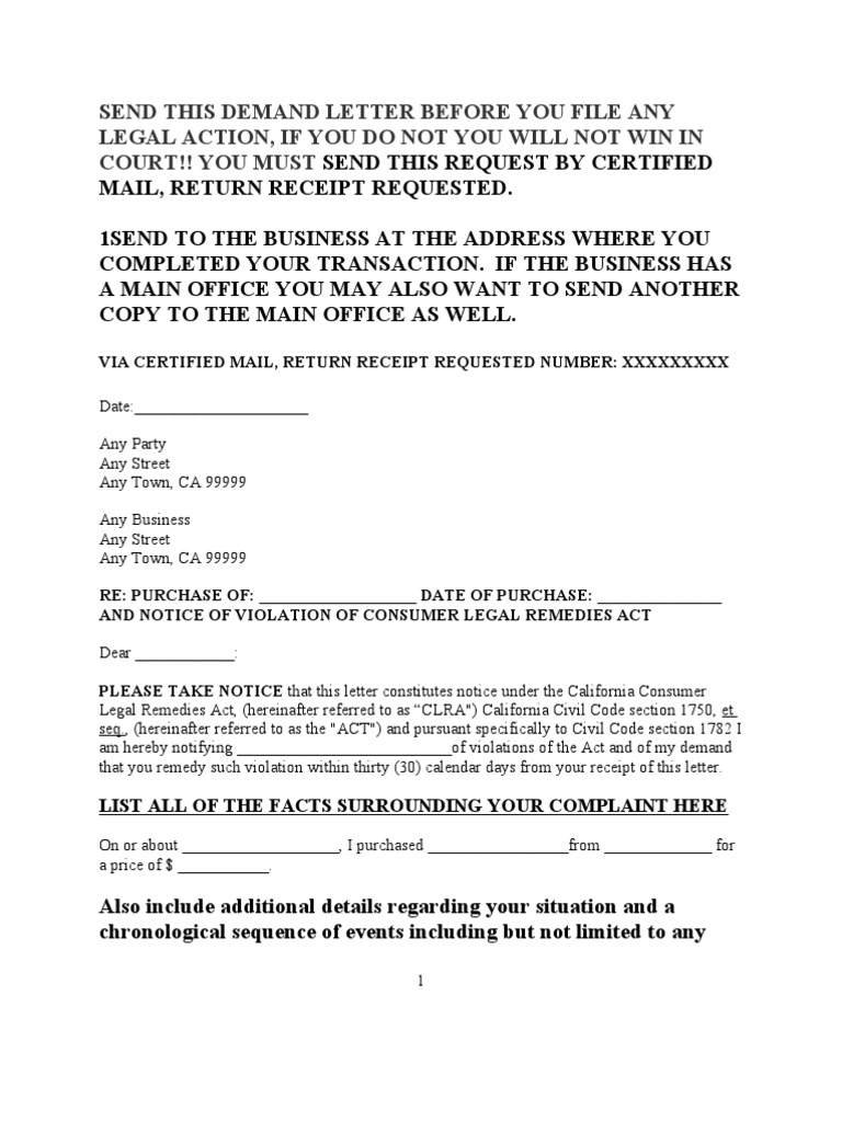 Sample Demand Letter Under Consumer Legal Remedies Act For