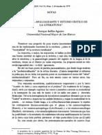 BALLÓN AGUIRRE, Enrique. Crítica socio-analogizante y estudio crítico de la literatura