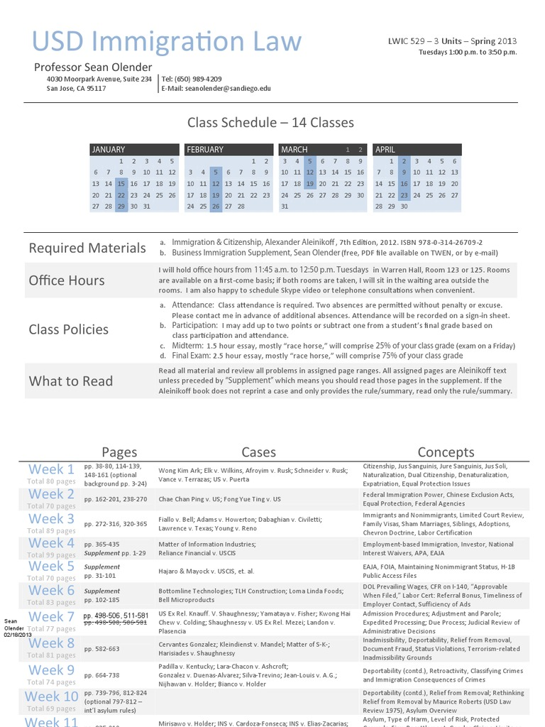 Syllabus for USD Immigration Class - Spring 2013 - REVISED 02-18