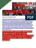 Noticias Uruguayas miércoles 17 de julio del 2013