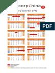 2013 Legal Holidays Calendar