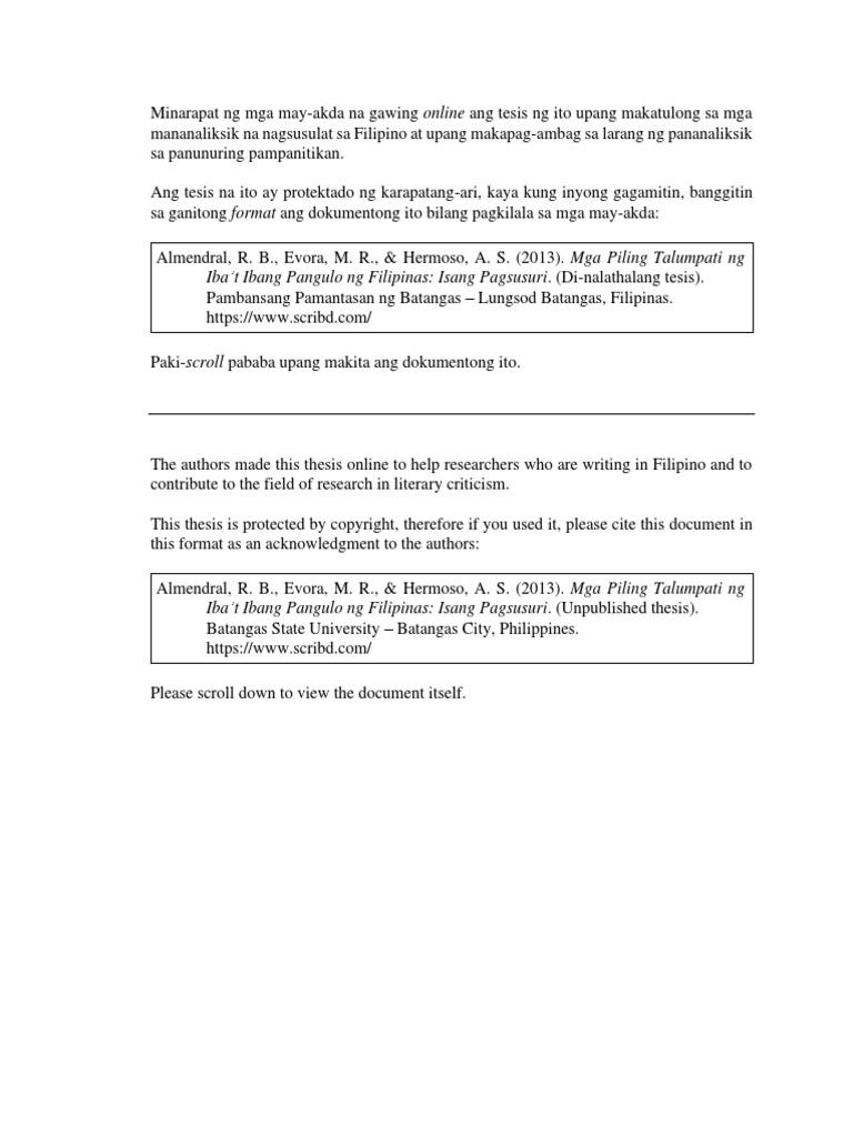 mga halimbawa ng abstrak ng thesis