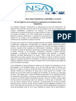 INDIGNADOS POR EL NUEVO FRAUDE DE LA REFORMA A LA SALUD (Comunicado de Prensa ANSA)