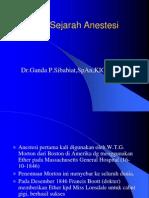 Sejarah Anastesi - Dr. Ganda s. , Sp. an - 20 Mei 2013