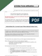 Internal Order Form Utilisation en 2005