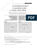 Prevalencia de Deficiencia d Ehierro y Parasitosis