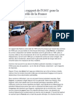 Rwanda, Un Rapport de l'ONU Pose La Question Du Role de La France - Le Monde - 1 juin 2012