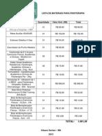 Lista de Materiais Para Fisioterapia