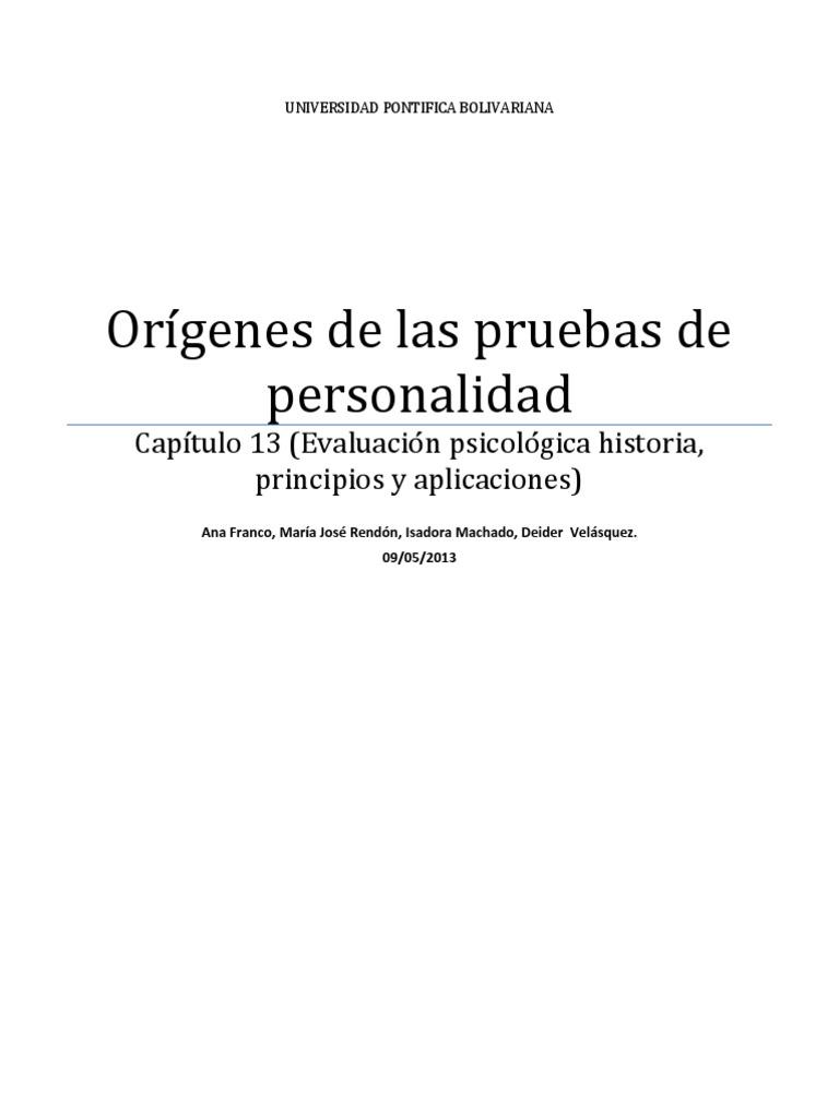 ORÍGENES DE LAS PRUEBAS DE PERSONALIDAD (resumen 20 hojas)