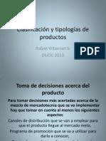 Clasificación  y tipologías de productos