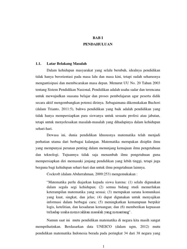 Skripsi Pendidikan Matematika Bab I
