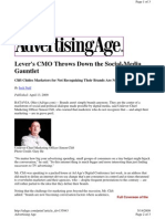 Lever's CMO Throws Down the Social-Media Gauntlet