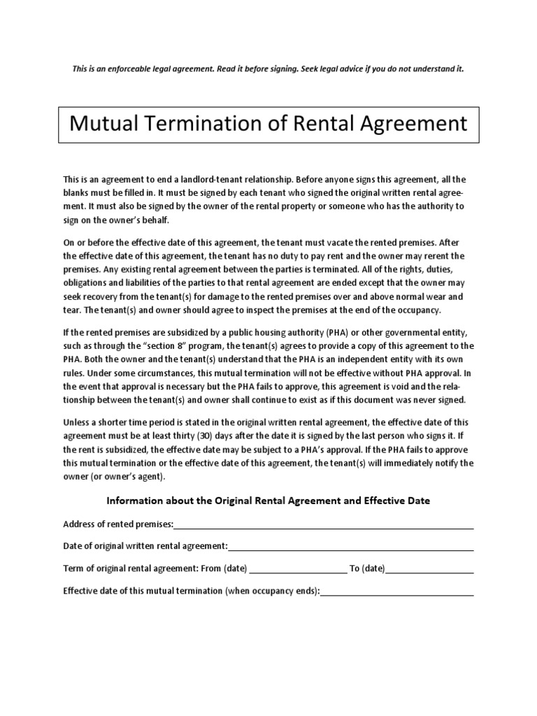 Mutual Termination Of Rental Agreement Lease Leasehold Estate