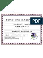 Orientation Certificate